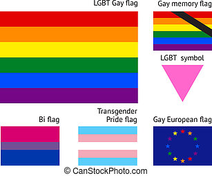 LGBT Gay flags, flat vector illustration