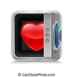 Heart in safe - Red glossy heart in code lock safe on white...