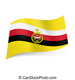 Armed Forces flag of Brunei: diagonal white, red and black...
