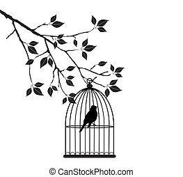 Bird Cage - vector bird in a cage in the tree