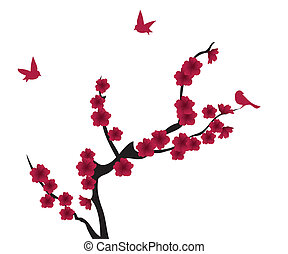 red blossom - vector blossom tree with birds