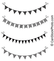 bunting - vector black and white bunting
