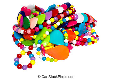 Heap of costume jewellery - Heap of multi-coloured costume...