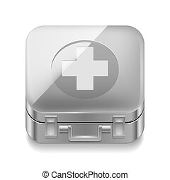 First-aid kit - Icon of metal first-aid kit on white...