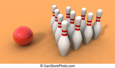 bowling ball and skittles - a 3d rendering of bowling ball...