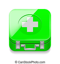 First-aid kit - Icon of shiny green first-aid kit on white...