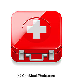 First-aid kit - Icon of red first-aid kit on white...
