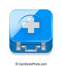 First-aid kit - Icon of blue first-aid kit on white...