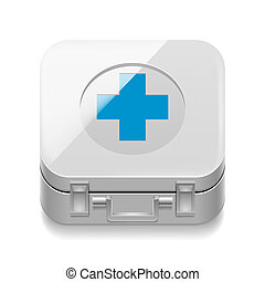 First-aid kit - Icon of white first-aid kit on white...