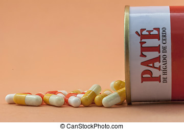 Some pills go out of a canister of pacirc;teacute; of pig...