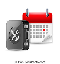 Repair and time icon with tool box and calendar