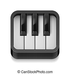 Piano icon - Music icon with realistic piano keys on white...