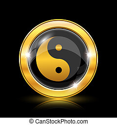 Ying yang icon - Golden shiny icon on black background -...