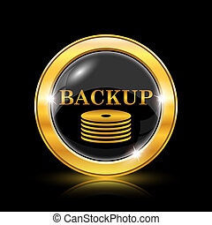 Back-up icon - Golden shiny icon on black background -...