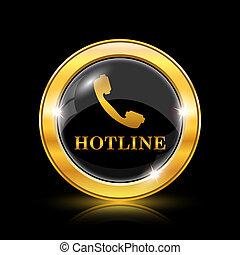 Hotline icon - Golden shiny icon on black background -...