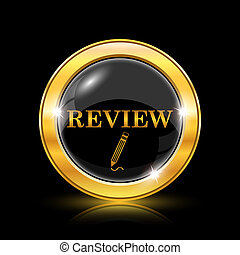 Review icon - Golden shiny icon on black background -...
