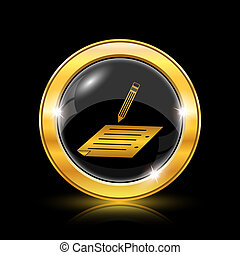 Subscribe icon - Golden shiny icon on black background -...