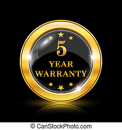 5 year warranty icon - Golden shiny icon on black background...