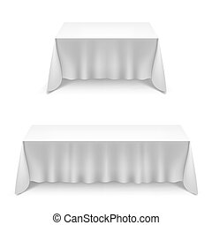 Two tables with white cloth - Two tables with white...