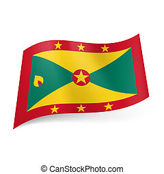 State flag of Grenada - National flag of Grenada: red framed...