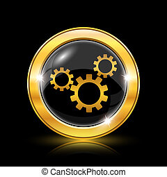Settings icon - Golden shiny icon on black background -...