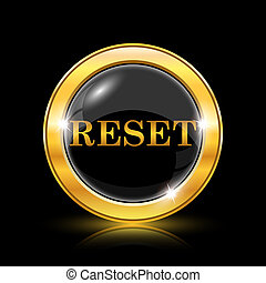 Reset icon - Golden shiny icon on black background -...