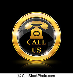 Call us icon - Golden shiny icon on black background -...