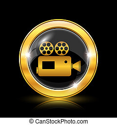 Video camera icon - Golden shiny icon on black background -...