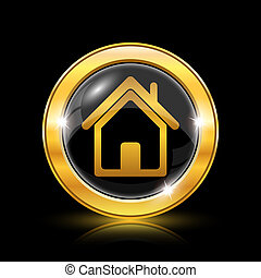 Home icon - Golden shiny icon on black background - internet...