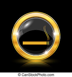 Cigarette icon - Golden shiny icon on black background -...