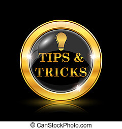Tips and tricks icon - Golden shiny icon on black background...