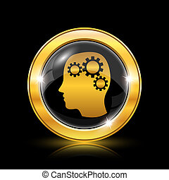 Brain icon - Golden shiny icon on black background -...
