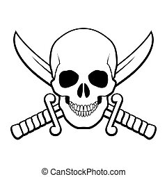 Pirate symbol - Skull with crossed sabers behind it....