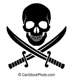 Pirate symbol - Black skull with crossed sabers Illustration...