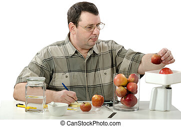 Phytocontrol expert weighing apples in the laboratory