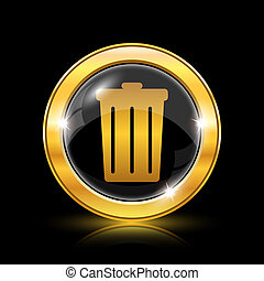 Bin icon - Golden shiny icon on black background - internet...