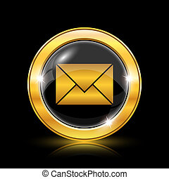 E-mail icon - Golden shiny icon on black background -...