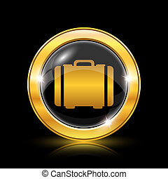 Suitcase icon - Golden shiny icon on black background -...