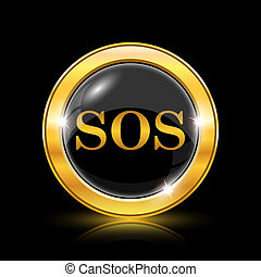 SOS icon - Golden shiny icon on black background - internet...