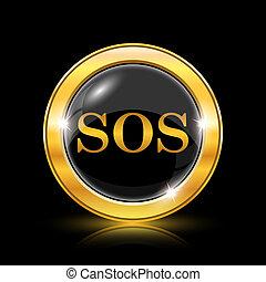 SOS icon - Golden shiny icon on black background - internet...