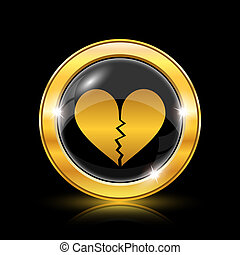 Broken heart icon - Golden shiny icon on black background -...