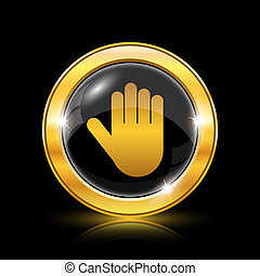 Stop icon - Golden shiny icon on black background - internet...