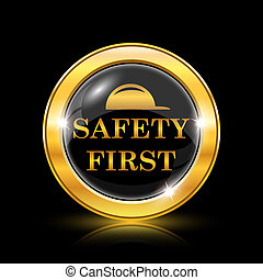 Safety first icon - Golden shiny icon on black background -...
