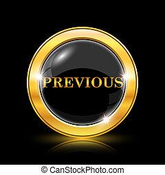 Previous icon - Golden shiny icon on black background -...