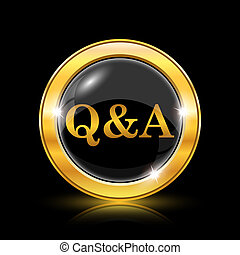 Q&A icon - Golden shiny icon on black background - internet...