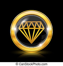 Diamond icon - Golden shiny icon on black background -...