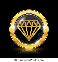 Diamond icon - Golden shiny icon on black background -...