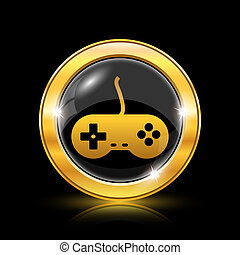 Gamepad icon - Golden shiny icon on black background -...