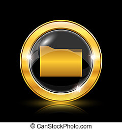 Folder icon - Golden shiny icon on black background -...