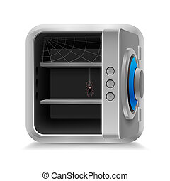 Open safe - Open empty safe with cobweb and spider as idea...